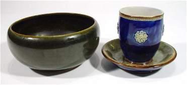 418 Royal Doulton stoneware vase on dished base relie