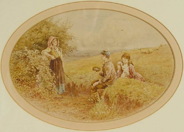 1001: FB - Oval watercolour of children on a hillside c