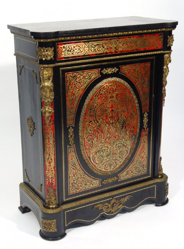 3: Ebonised boule work pier cabinet, fitted a profusely