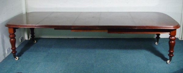 4: Large Victorian mahogany extending D-end dining tabl