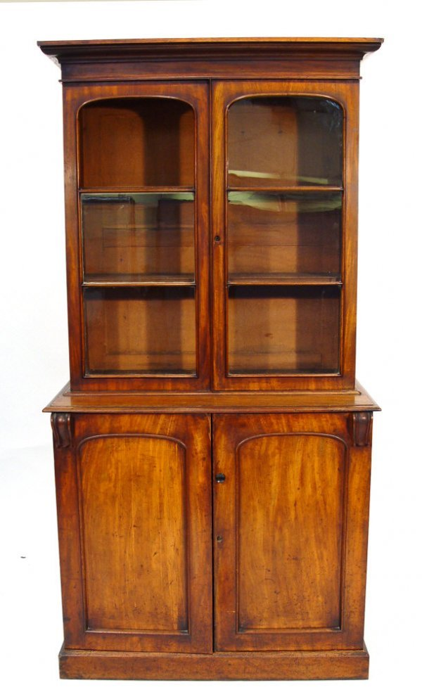 5: Victorian walnut bookcase with moulded cornice above