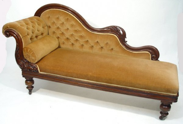 6: Victorian mahogany chaise lounge with carved frame a
