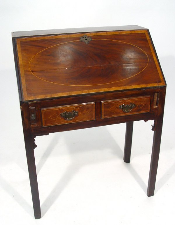 7: Georgian mahogany bureau with oval strung inlay and