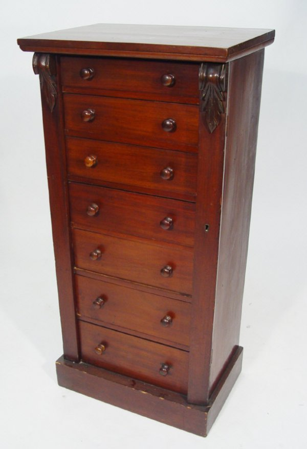 8: Victorian mahogany Wellington chest, fitted seven gr