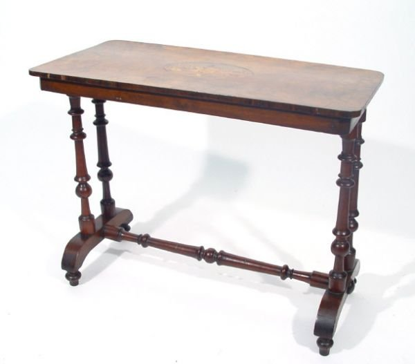 9: 19th Century floral inlaid rectangular walnut side t