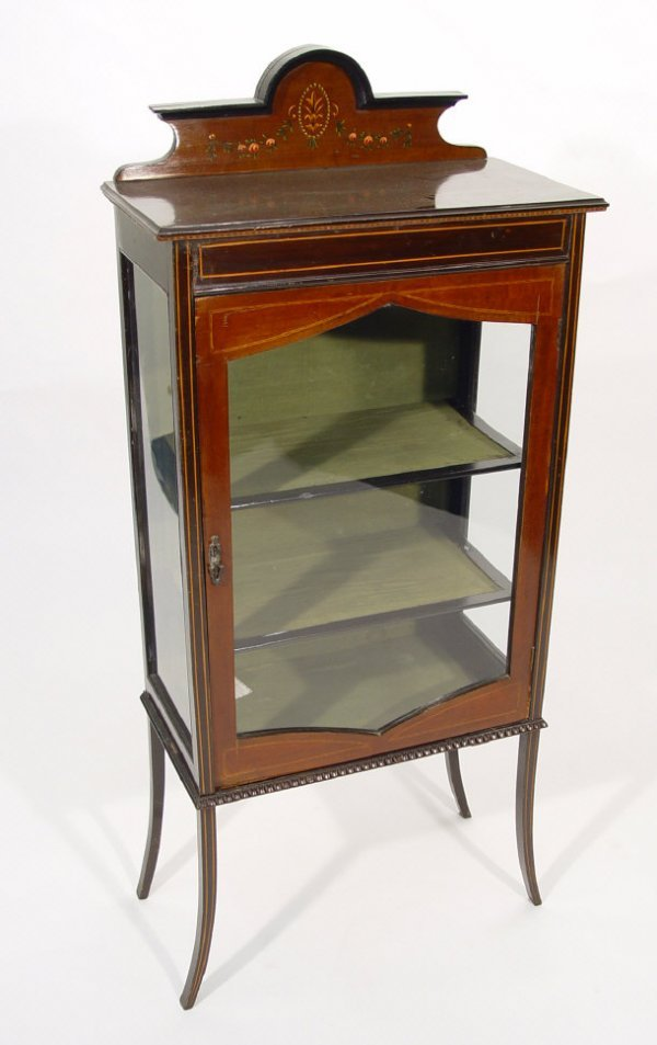 14: Edwardian inlaid mahogany china cabinet with painte