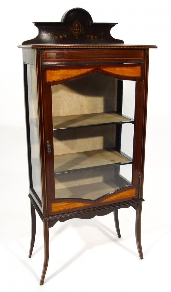 18: Edwardian inlaid mahogany china cabinet with painte