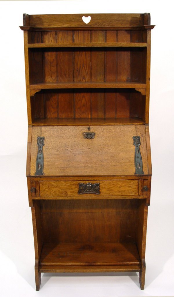 20: Oak Arts and Crafts bureau bookcase with three open
