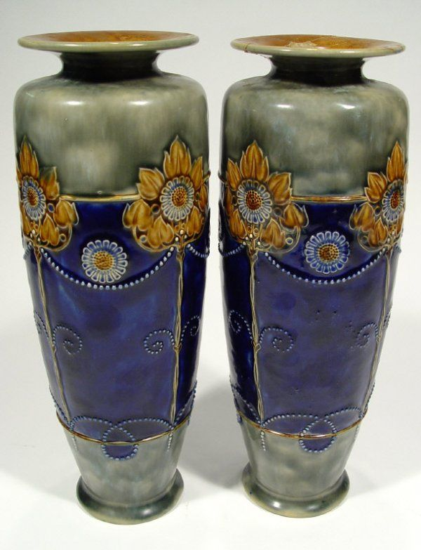 Pair of large Royal Doulton stoneware vases, relie