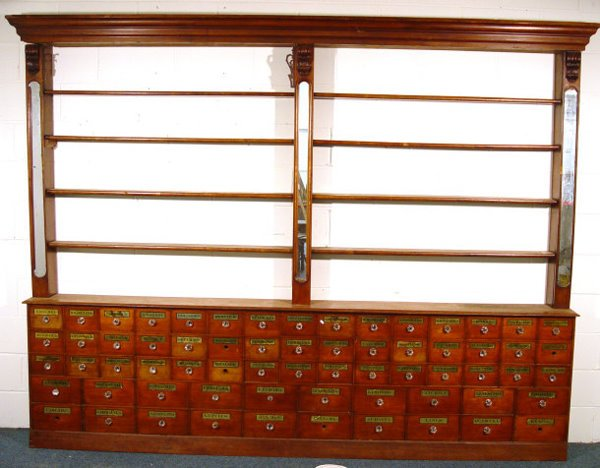 3: Victorian walnut apocathery's chemist shop cabinet w