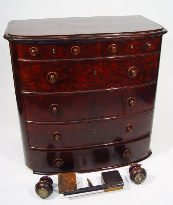 4: Victorian plum mahogany bow fronted chest, fitted wi