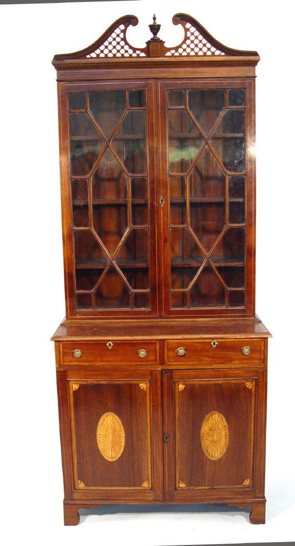 5: Edwardian inlaid mahogany bookcase with broken fretw