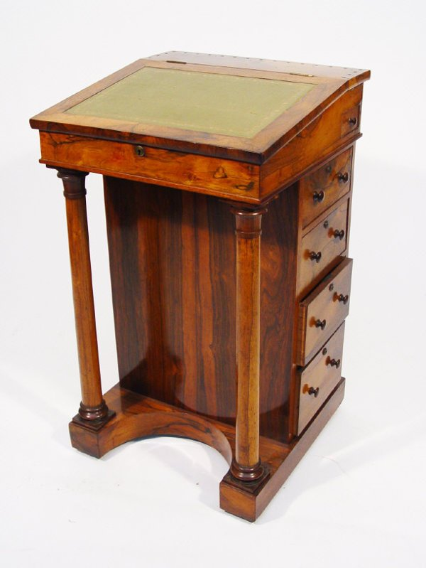 6: Regency rosewood Davenport with green tooled leather