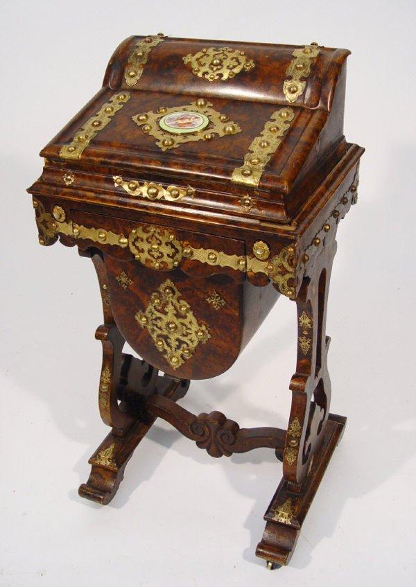 8: Victorian burr walnut workbox with lift off writing