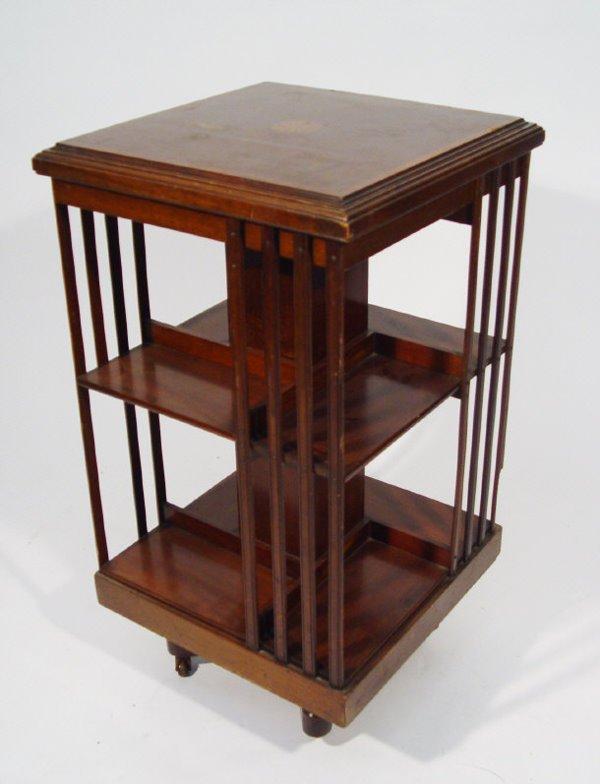 10: Edwardian inlaid mahogany revolving two tier bookca