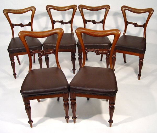 12: Set of six Victorian mahogany dining chairs on flut