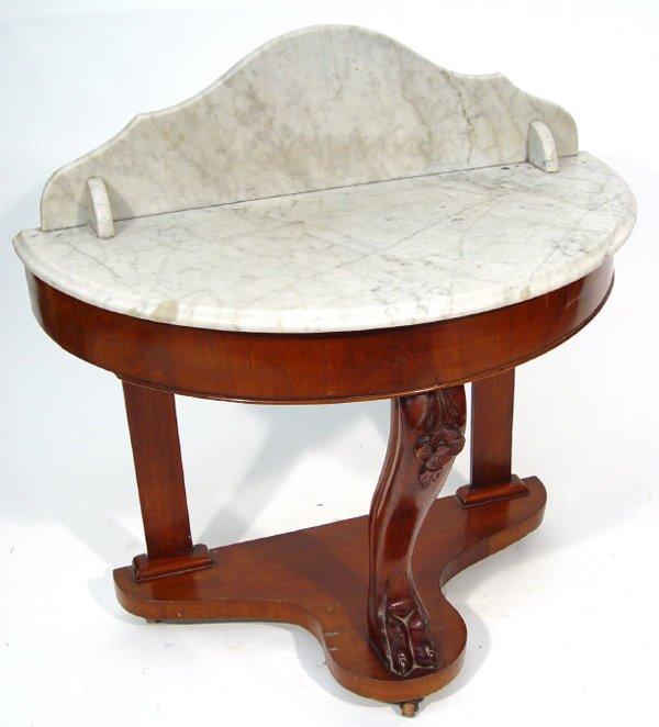 13: Victorian mahogany demi lune wash stand with white