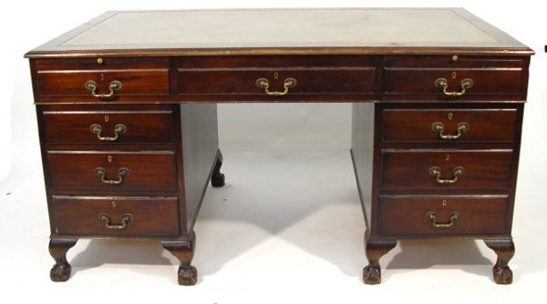 20: Reproduction mahogany twin pedestal desk with red t