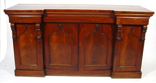 22: Victorian mahogany sideboard, fitted with three cus
