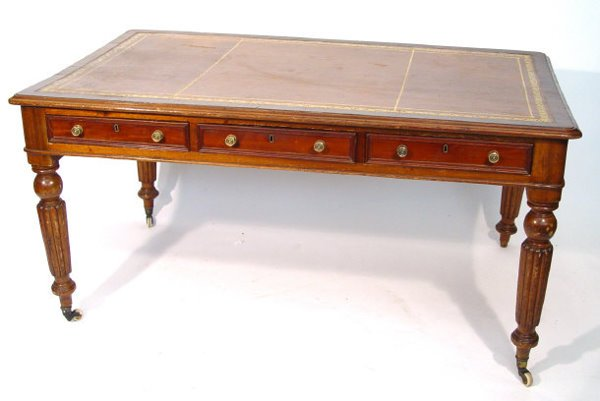 24: Victorian mahogany desk with brown tooled leather i