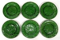 118 Six Victorian Majolica greenleaf plates each 24cm