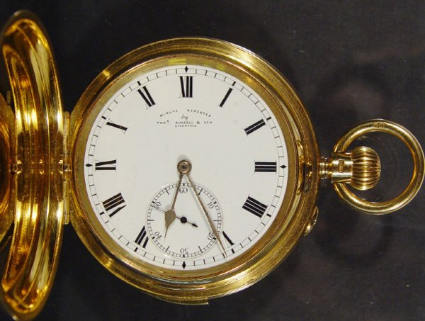 916: 18ct gold minute repeating gentlemans Hunter pocke