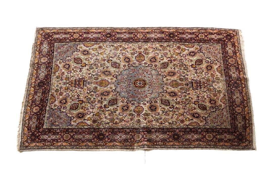 Persian Wool & Silk Rug c1920