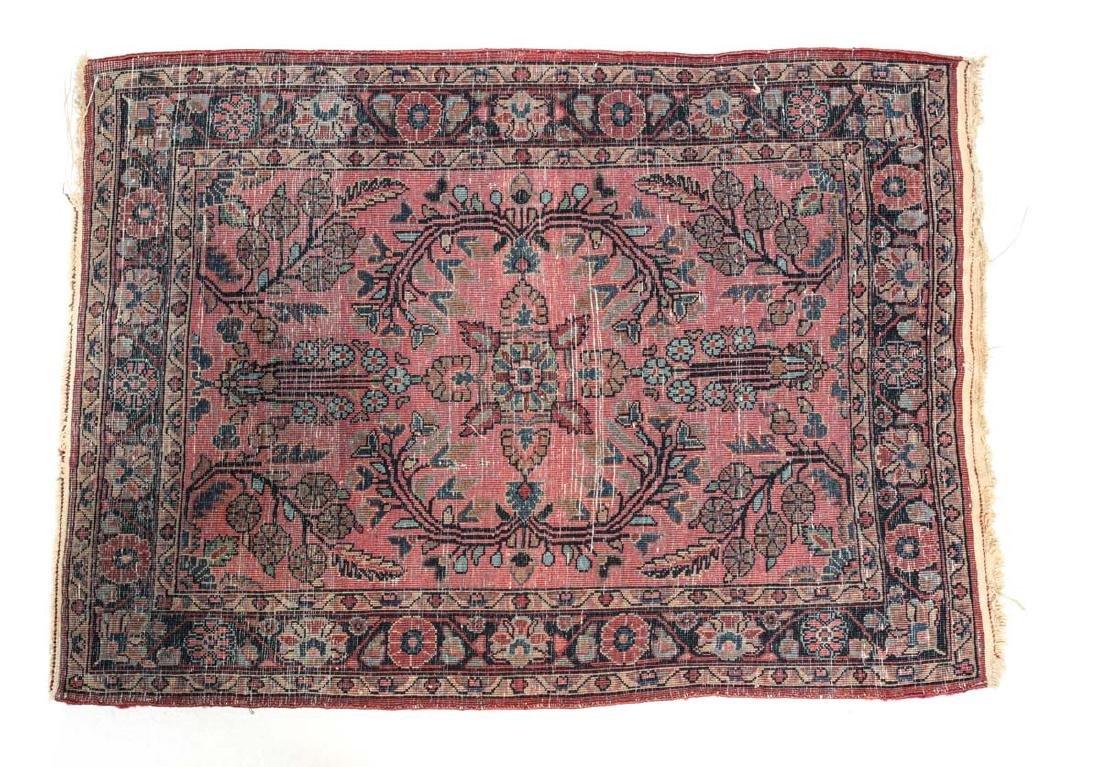 Sarouk Wool  Mat  c1900 - 4