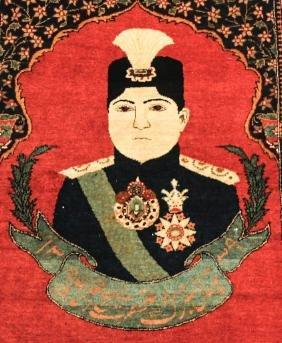 20th Century Pictorial Persian Kashan Rug Qajar King