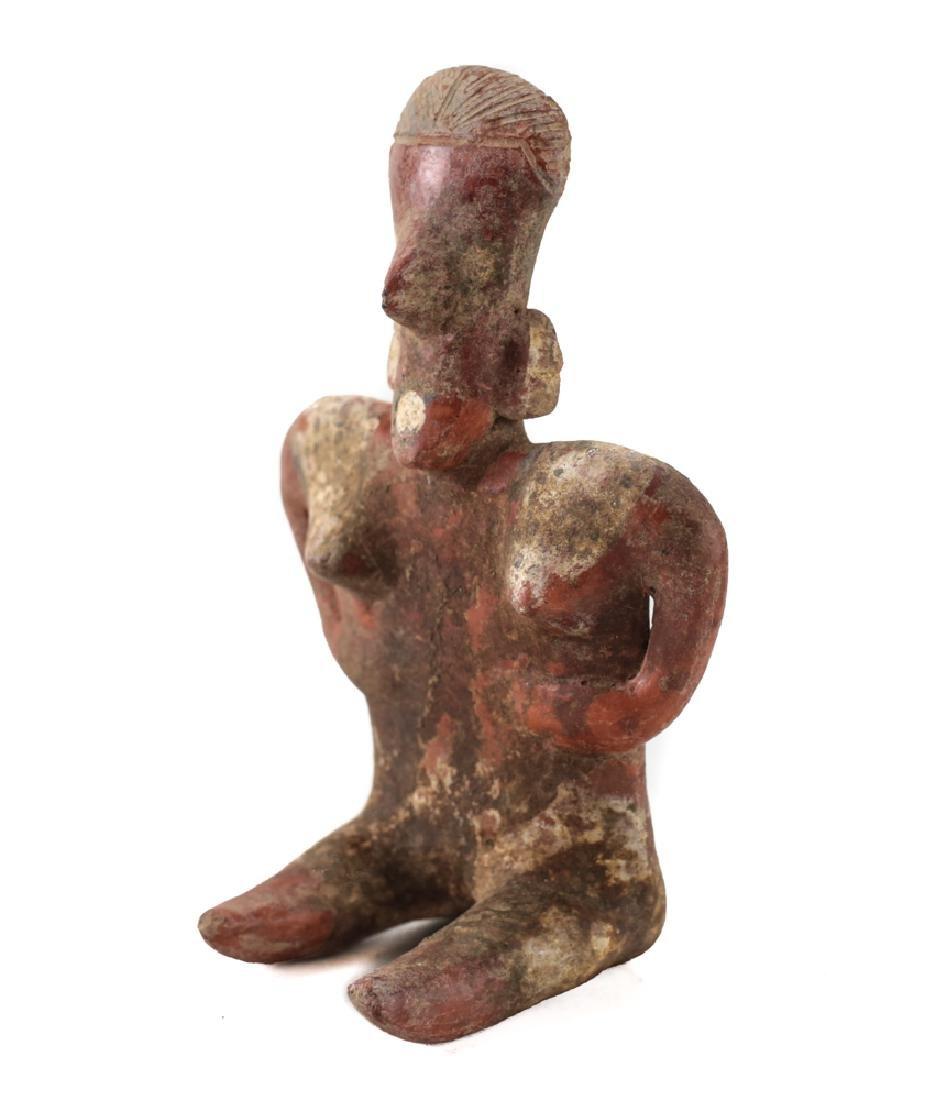 Small Pre-Columbian Pottery NAYARIT Seated Female - 3
