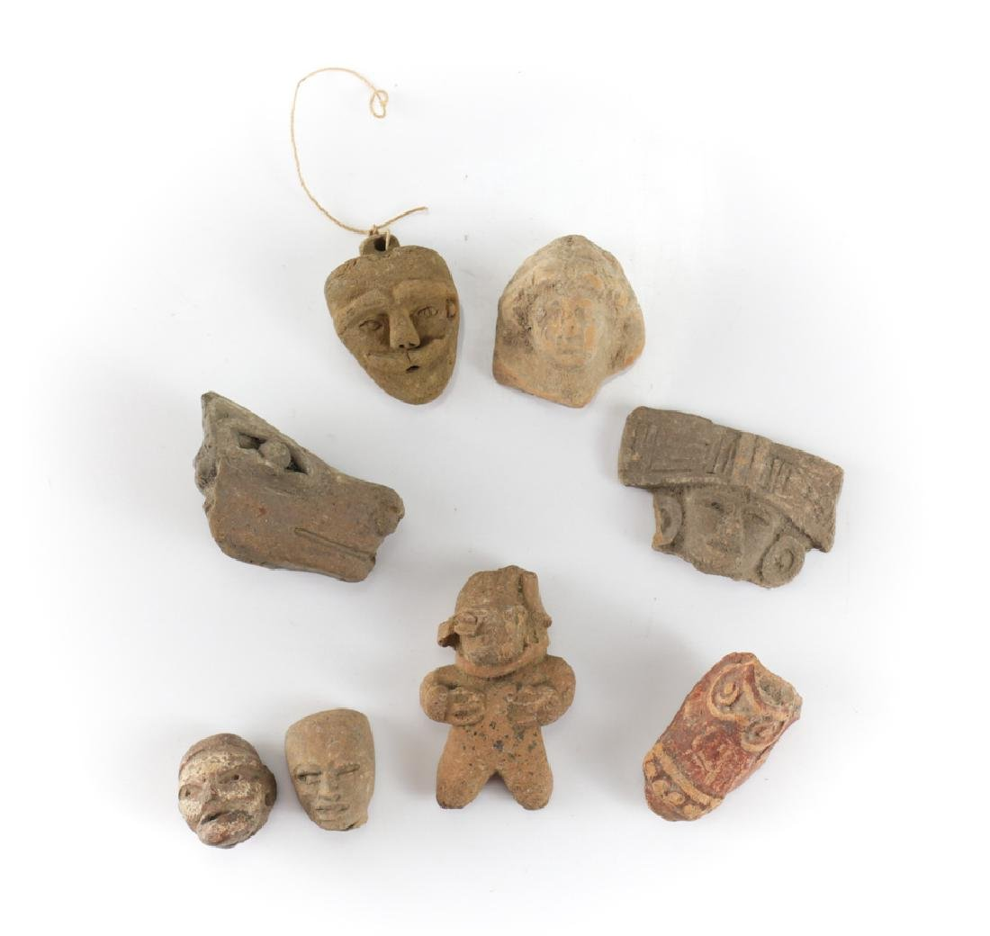 7 assorted Pre-Columbian Pottery Figures and Head