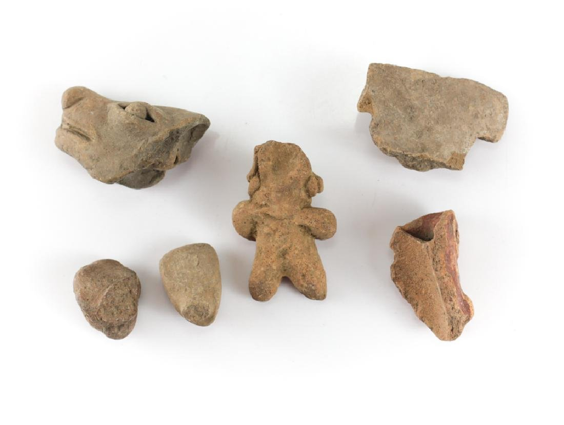 7 assorted Pre-Columbian Pottery Figures and Head - 4