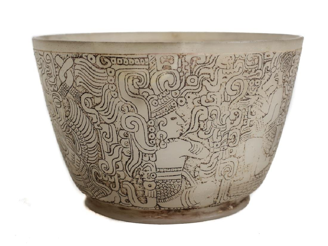 Pre columbian Maya Engraved Alabaster Bowl