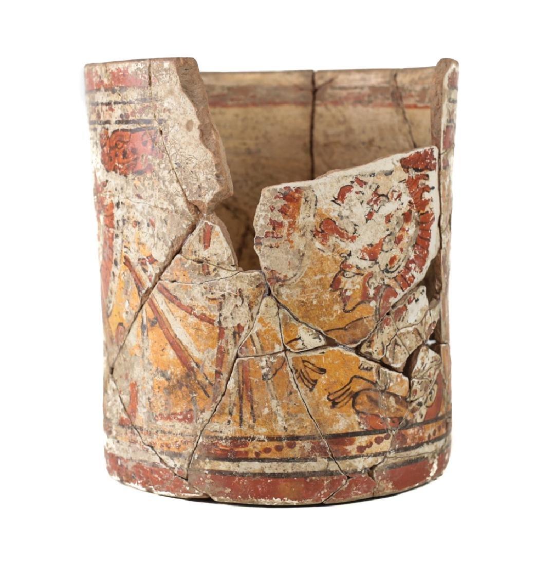 Large Pre Columbian MAYAN Polychrome Cupador - 3