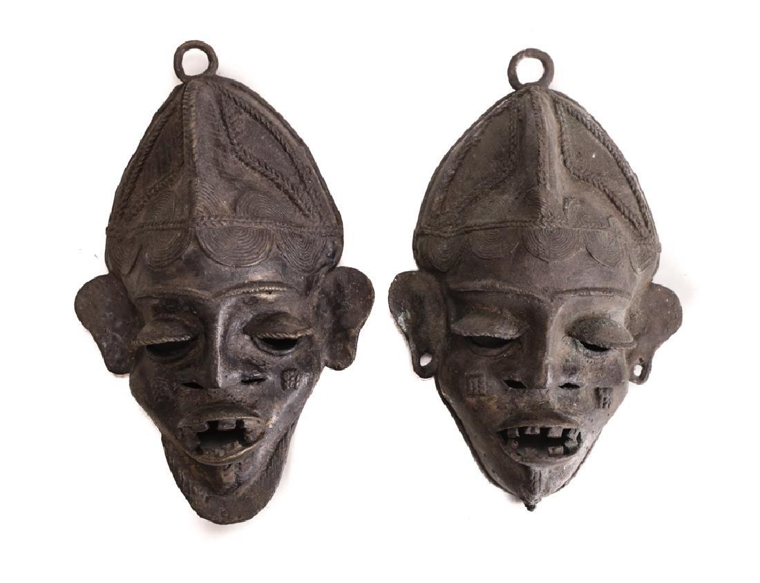 pair of African Bronze Mask,  Cast bronze
