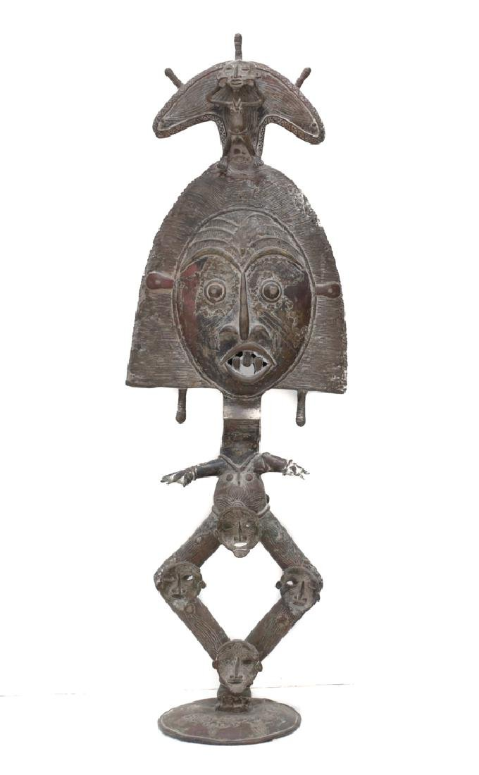 Monumental African Bronze Figure Reliquary Statue