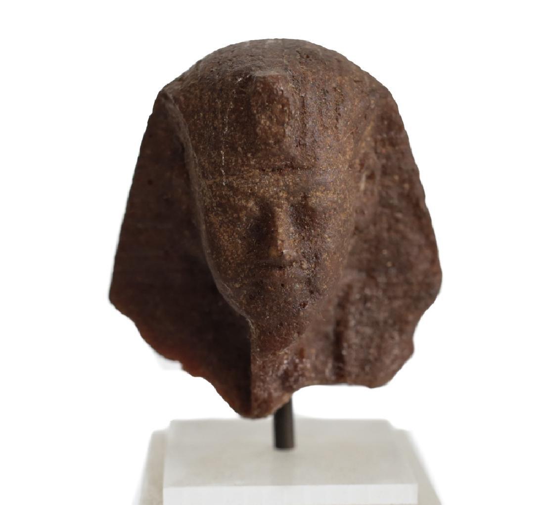 Egyptian Fragment Brown Quartzite head of a Man,
