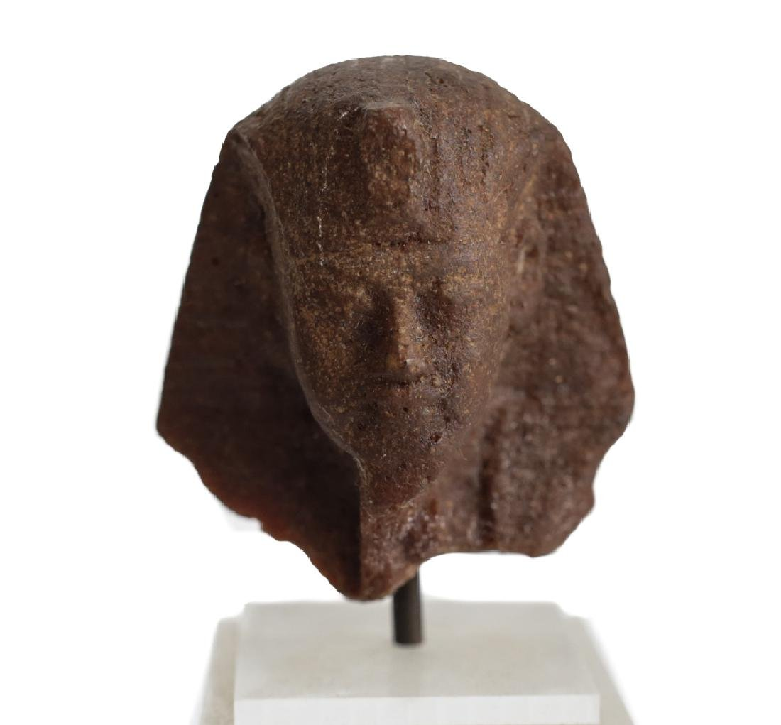 Egyptian Fragment Brown Quartzite head of a Man,