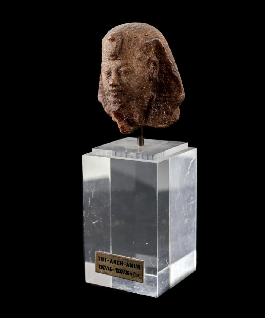 Egyptian Fragment Brown Quartzite head of a Man, - 2