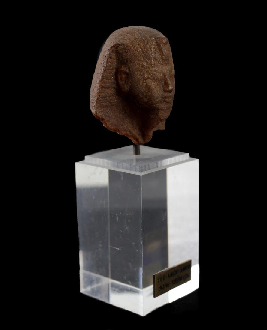 Egyptian Fragment Brown Quartzite head of a Man, - 4