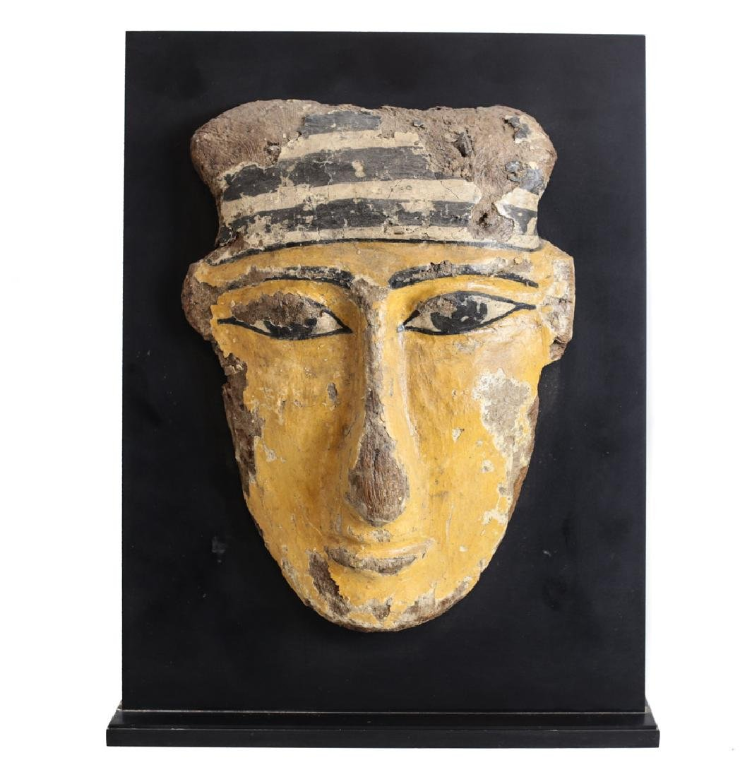 Egyptian Polychrome Sarcophagus Mask, wood and gesso