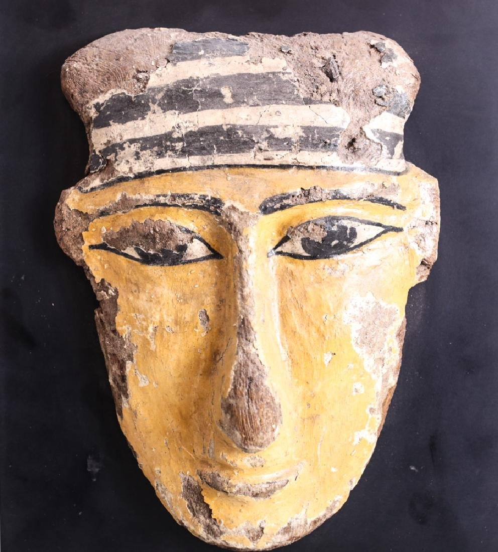 Egyptian Polychrome Sarcophagus Mask, wood and gesso - 2
