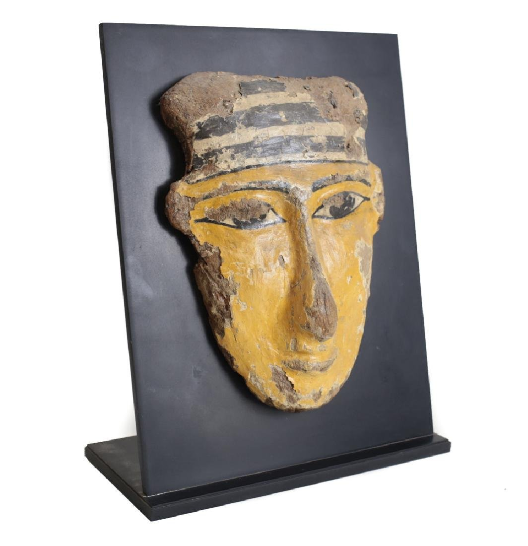 Egyptian Polychrome Sarcophagus Mask, wood and gesso - 3