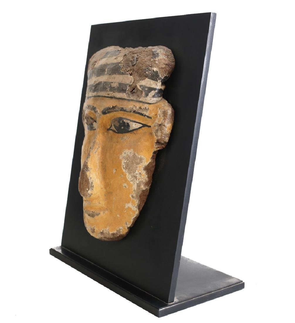 Egyptian Polychrome Sarcophagus Mask, wood and gesso - 4