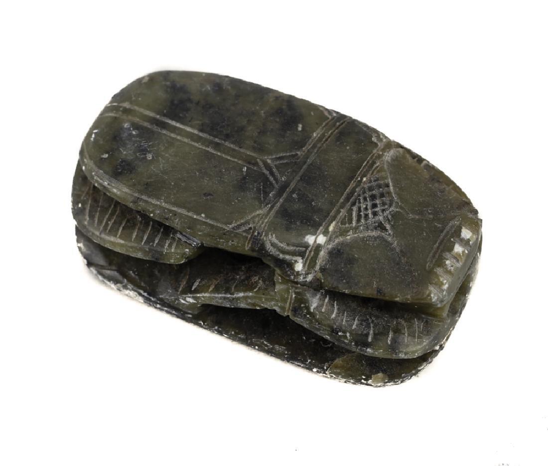 Albaster Egyptian Scarab Amulet w/ hieroglyphics