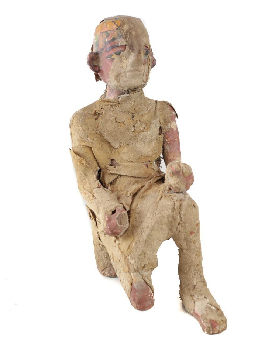 Egyptian Kneeling Figure painted gesso