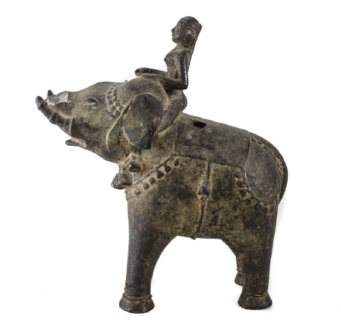 Bronze Asian Elephant with female mahout