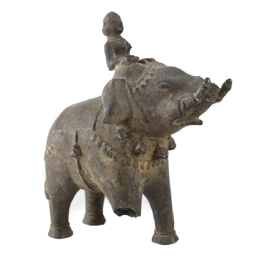 Bronze Asian Elephant with female mahout - 2