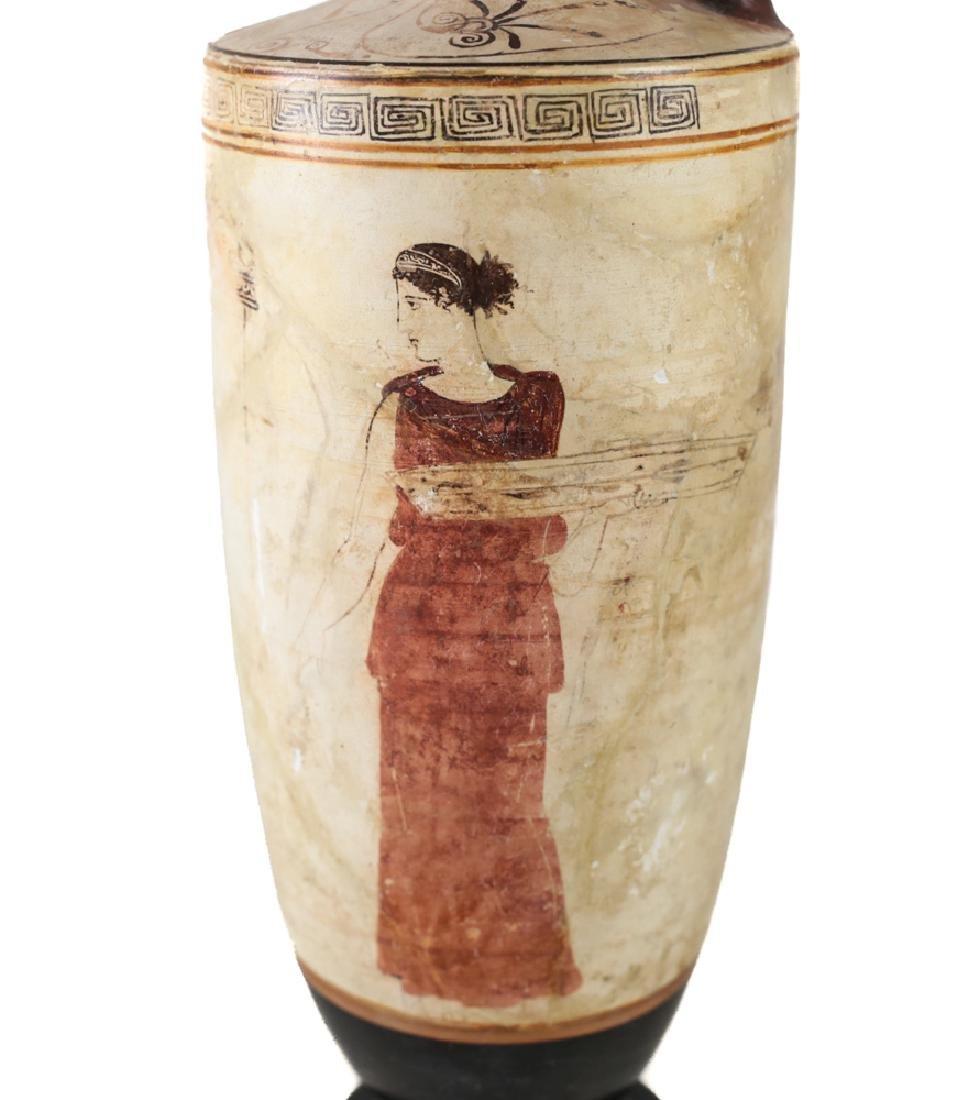 Greek White Ground Lekythos Funerary Bottle - 4