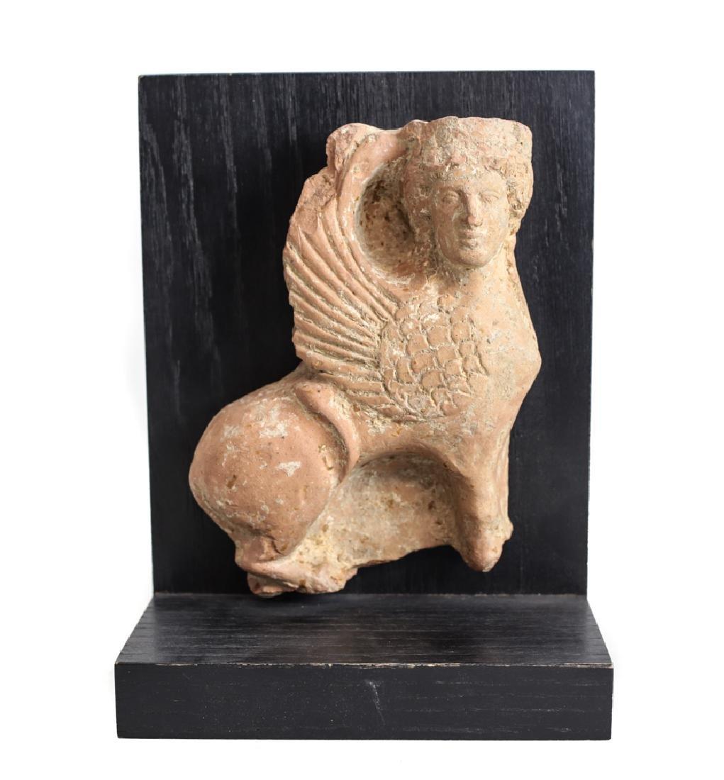 Archaic Grecco Roman Fragment Terra Cotta SPHINX Plaque